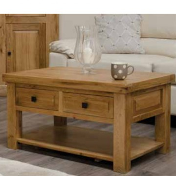 Deluxe Rustic Oak 3 x 2 Coffee Table