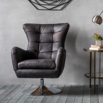 Hudson Living Bristol Swivel Chair in Antique Ebony