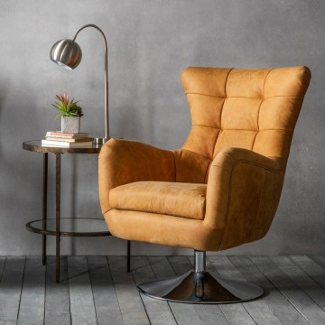 Hudson Living Bristol Swivel Chair in Saddle Tan