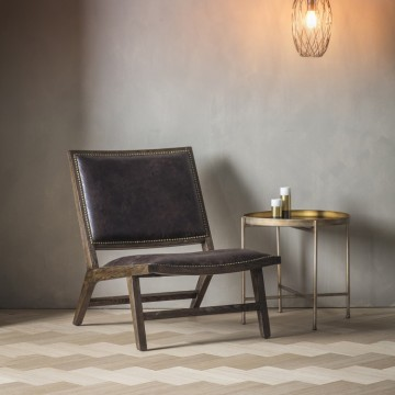 Hudson Living Carnaby Chair - Chocolate Leather