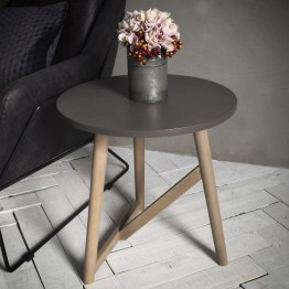 Hudson Living Hamar Round Side Table in Grey