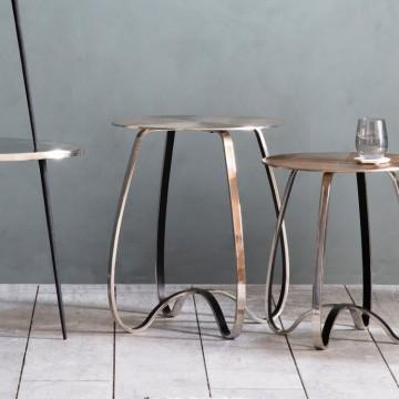 Hudson Living Omar Side Table in Silver Finish