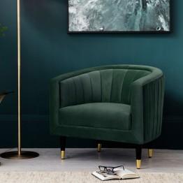 Hudson Living Serrano Armchair (Tub Chair) in Mallard Velvet Fabric