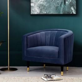 Hudson Living Serrano Armchair (Tub Chair) in Twilight Velvet Fabric