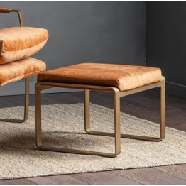 Hudson Living Fabien Footstool in Ochre Colour
