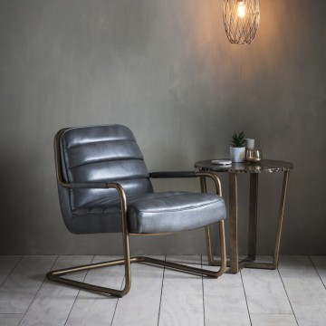 Hudson Living Soho Lounge Chair in Matt Pewter