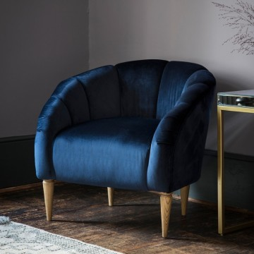 Hudson Living Tulip Chair (Tub Chair) in Atlantic Velvet Fabric