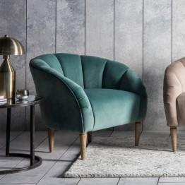 Hudson Living Tulip Chair (Tub Chair) in Mint Velvet Fabric