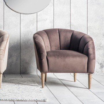 Hudson Living Tulip Chair (Tub Chair) in Mouse Velvet Fabric