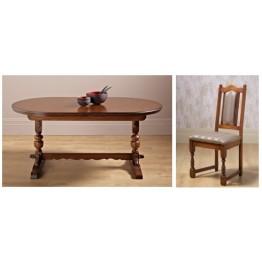 Old Charm Dining Set - OC3019 - Comprising 2064 Lancaster Dining Table & 4 2067 Lancaster Dining Chairs