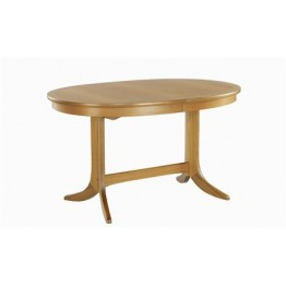 2114 Nathan Classic Oval Pedestal Dining Table in Teak Finish