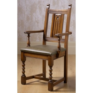 2287 Wood Bros Old Charm Aldeburgh Carver Chair in Leather
