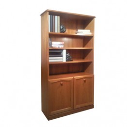 252 Sutcliffe bookcase with two lower doors - teak finish code STR-252-TK
