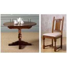 Old Charm Dining Set - OC3068 - Comprising 2472 Aldeburgh Dining Table & 4 2286 Aldeburgh Dining Chairs - Fabric Seats