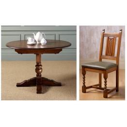 Old Charm Dining Set - OC3068L - Comprising 2472 Aldeburgh Dining Table & 4 2286 Aldeburgh Dining Chairs - Leather Seats