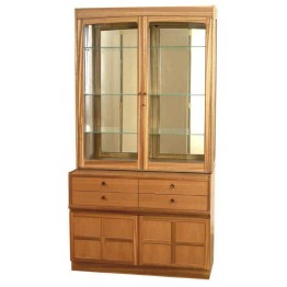 4064 Nathan Classic Glazed Display with 4444 Sideboard Base in Teak - Complete Unit (NCL-4064T & NCL-4444-TK)