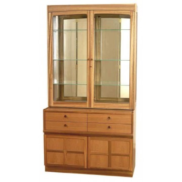 4064 Nathan Classic Glazed Display To Fit Ontop Of 4444 in Teak NCL-4064T-TK