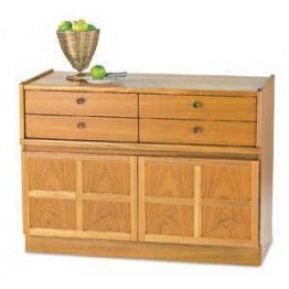 4444 Nathan Classic 4 Drawer Mid Storage Unit in Teak (4445 in light oak or 4446 in medium oak)