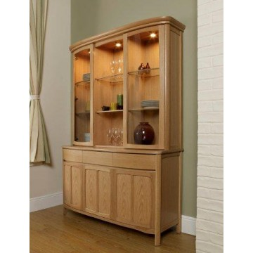 Nathan Oak 4805 Shaped Glass Door Display Top Unit with 1815 Sideboard Base - Complete Unit (NSH-4805-OK & NSH-1815-OK)