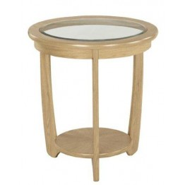 Nathan Oak 5815 Glass Top Round Lamp Table