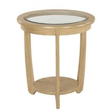 Nathan Oak 5815 Glass Top Round Lamp Table NSH-5815-OK