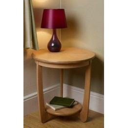 Nathan Oak 5825 Sunburst Top Round Lamp Table NSH-5825-OK