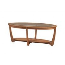 5834 Nathan Shades Glass Top Oval Coffee Table