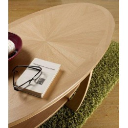 Nathan Oak 5845 Sunburst Top Oval Coffee Table NSH-5845-OK