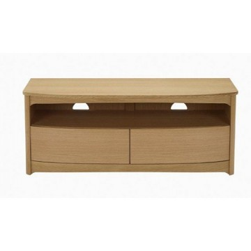 Nathan Oak 5935 Shaped TV Unit with Drawers  NSH-5935-OK