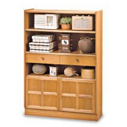 6424 Nathan Classic Medium Bookcase With Doors in Teak