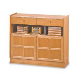 6444 Nathan Classic Low Bookcase With Doors