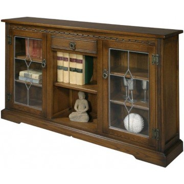 2793 Wood Bros Old Charm Low Bookcase with leaded glass doors