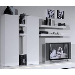 Sciae Furniture Electra Wall Unit with Shelves - 36 White - No 46 Suspended Element  1 Door 4 tab