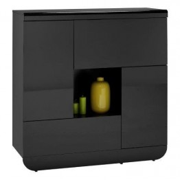 Sciae Furniture Floyd Cupboard - 38 Black - No 3 Storage Element with 2 doors and 2 flaps