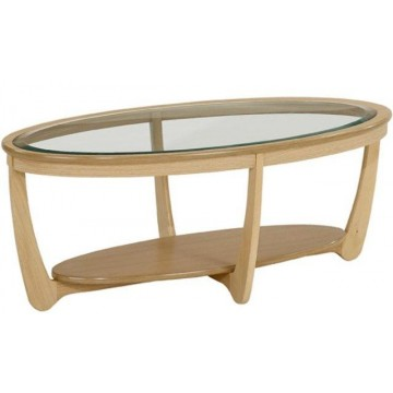 Nathan Oak 5835 Glass Top Oval Coffee Table  NSH-5835-OK