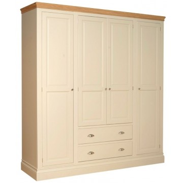 Lundy Quad Wardrobe With 2 Drawers (Split Version between drawers and section directly above it)