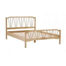 "Nathan Oak Bedroom 7115 Double Size Wooden Stick Bed - 4'6"" / 135cm"