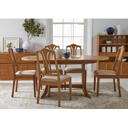 2114 Nathan Classic Oval Pedestal Dining Table in Teak Finish  NCD-2114-TK