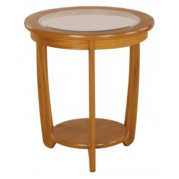 5814 Nathan Shades Glass Top Round Lamp Table NSH-5814-TK