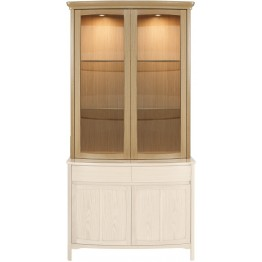 Nathan Oak 4045 Shaped Glass 2 Door Display Top Unit with 1905 Sideboard Base - Complete Unit Top and Base (NSH-4045-OK & NSH-1905-OK)