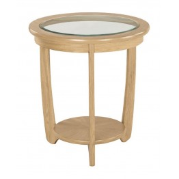 Nathan Oak 5815 Glass Top Round Lamp Table NSH-5815-OK - ONLY ONE LEFT