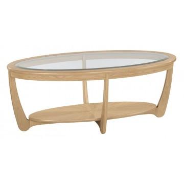 Nathan Oak 5835 Glass Top Oval Coffee Table  NSH-5835-OK