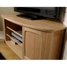 Nathan Oak 5875 Shaped Corner TV Unit NSH-5875-OK