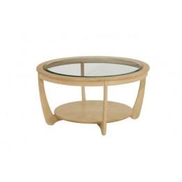 Nathan Oak 5915 Glass Top Round Coffee Table NSH-5915-OK