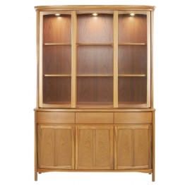 4804 Nathan Shades Shaped Glass Door Display Top Unit and 1814 Sideboard Base - Complete Unit (NSH-4804-TK & NSH-1814-TK)