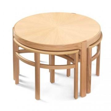 Nathan Oak 5605 Sunburst Top Trinity Nest of 3 Tables NSH-5605-OK