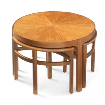 5604 Nathan Classic Sunburst Trinity Nest of 3 Tables NSH-5604-TK
