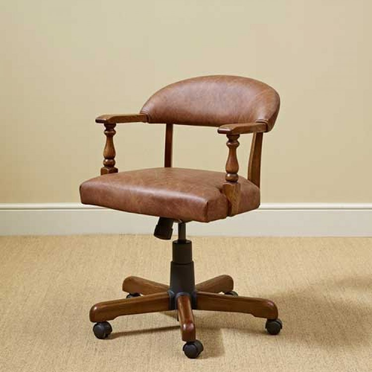 3032L Wood Bros Old Charm Captains Office Chair In Leather