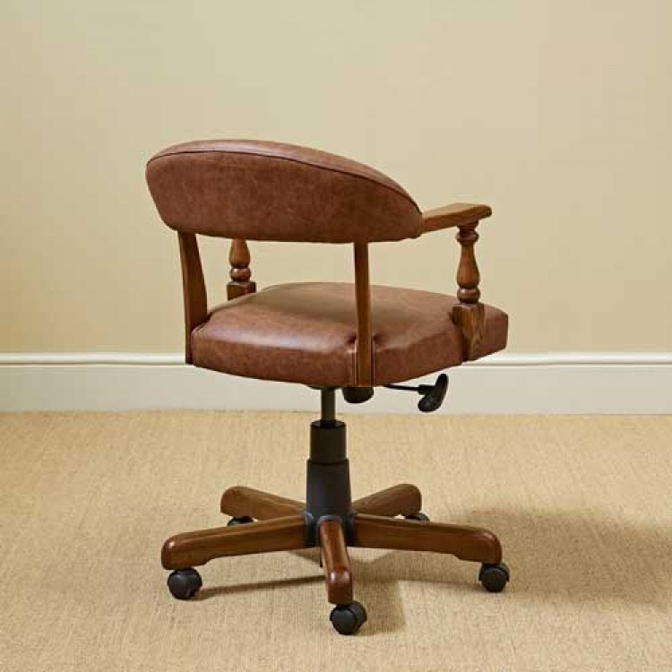 Leather Oak Captains Office Chair