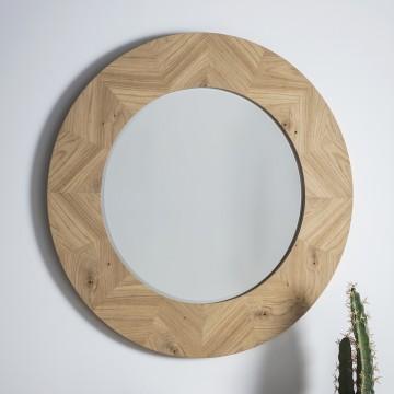 Forino Oak Round Mirror
